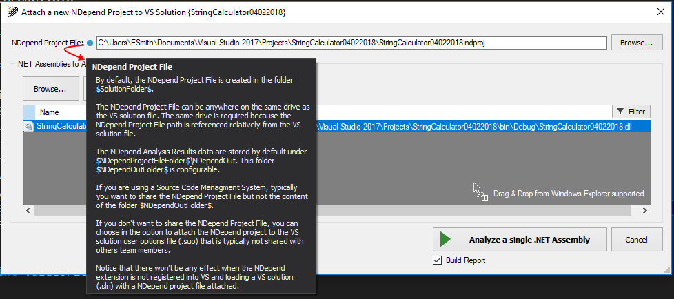 Dialogue showing new ND project file creation with detailed documentation