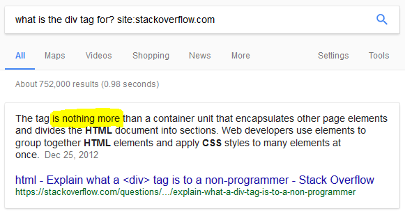Div tag search on Google