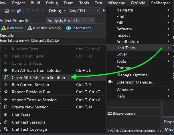 Menu item selecting Resharper cover all tests (and run tests)